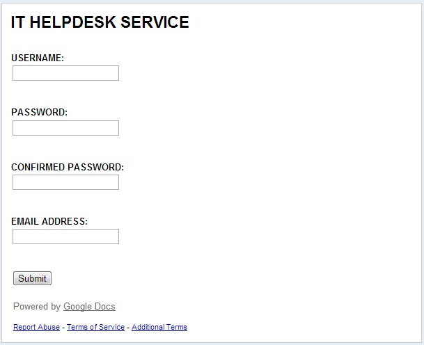 Helpdesk Upgrade Alert Scam - IT HELPDESK SERVICE form example