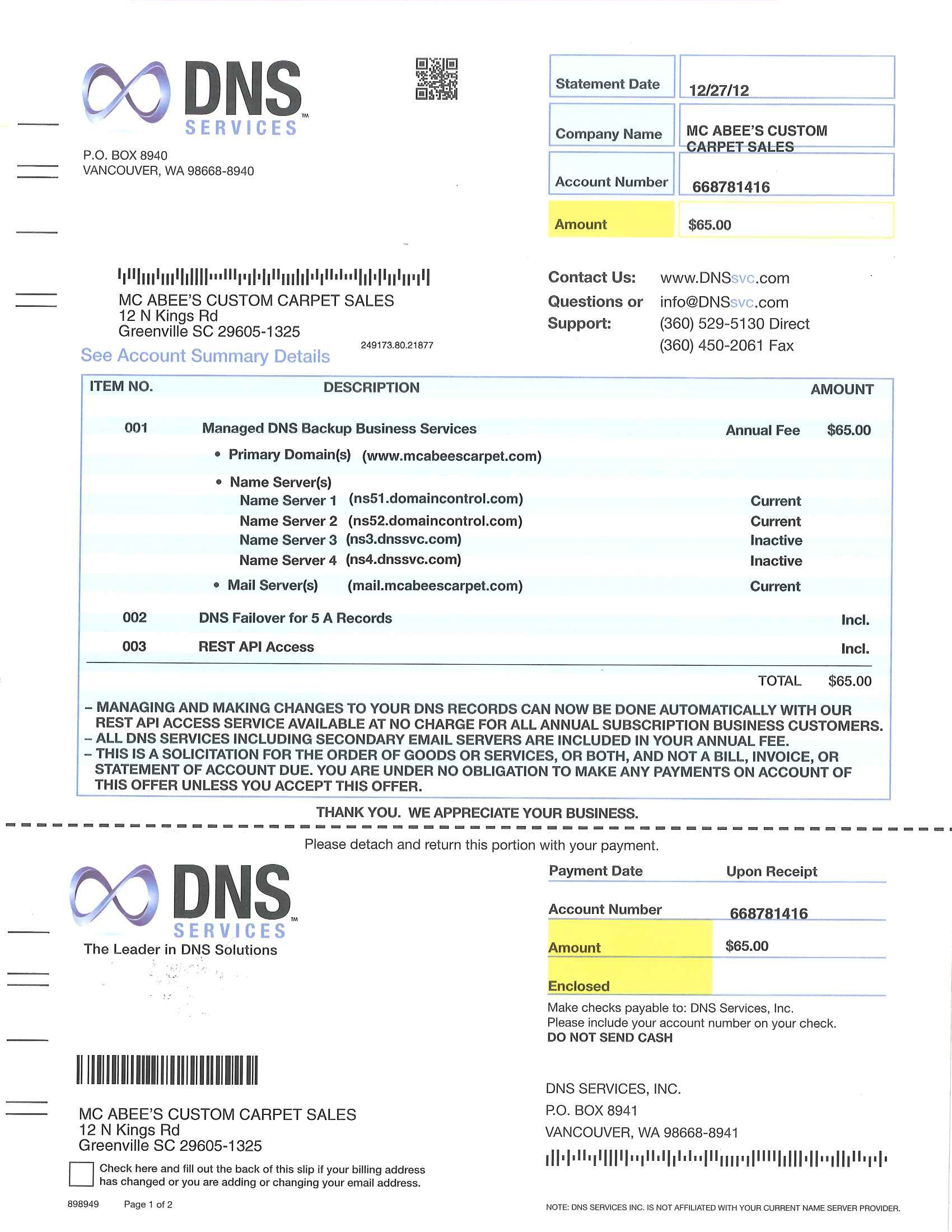DNS Services bill invoice scam